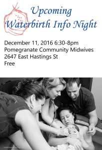 Waterbirth Info Night @ Pomegranate Community Midwives